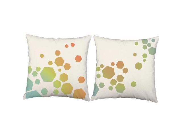 Bright Hexagons Pillows 16x16 White Outdoor Cushions