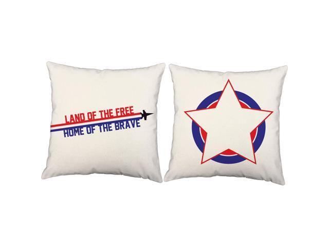 Land Free Pillows 18x18 Patriotic White Outdoor Cushions