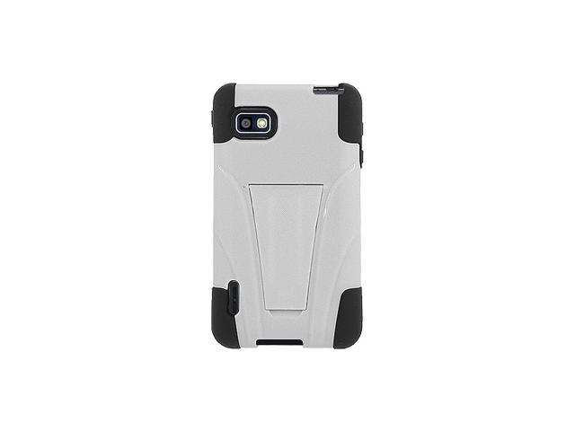 Amzer Double Layer Hybrid Case with Kickstand for LG Optimus F3 MS659 - Black/ White