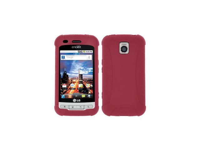 Amzer Silicone Skin Jelly Case for LG Optimus C LW690, LG Optimus M MS690 - Maroon Red
