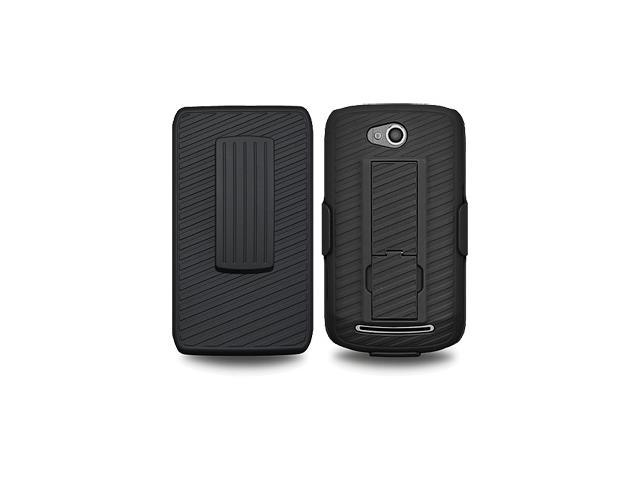 Amzer Shellster Shell Holster Combo Case Cover for MetroPCS Coolpad Quattro 4G 5860E - Black