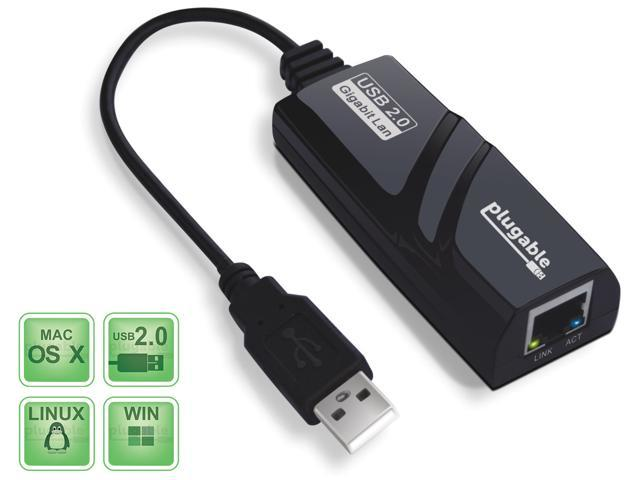 Plugable USB 2.0 to 10/100/1000 Gigabit Ethernet LAN Wired Network Adapter for Windows, Mac, Chromebook, Linux, and Specific ...