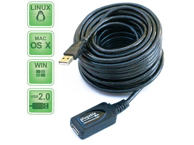 Plugable USB2-10M 10 Meter (32 Foot) USB 2.0 Active Extension Cable Type A Male to A Female