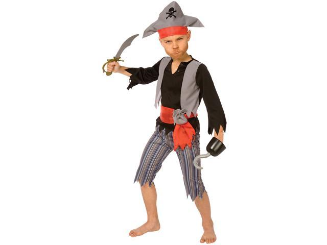 Living Fiction Ragged Pirate 4pc Boys Costume Grey Red Small (4-6)