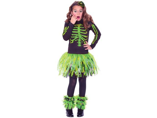 Living Fiction Punk Skeletude Skeleton 3pc Girls Costume Green Black Small (4-6)