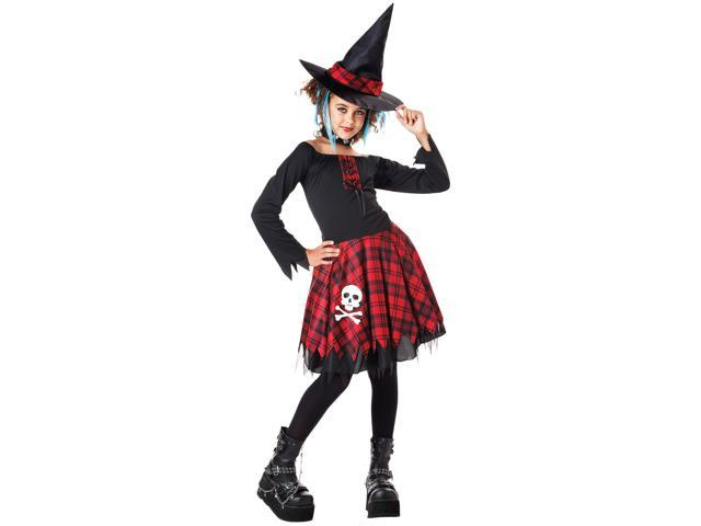 Punky Witch Girls Kids Costume Black Red Tween