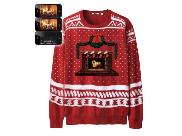 Digital Dudz Crackling Fireplace Knit Ugly Christmas Sweater