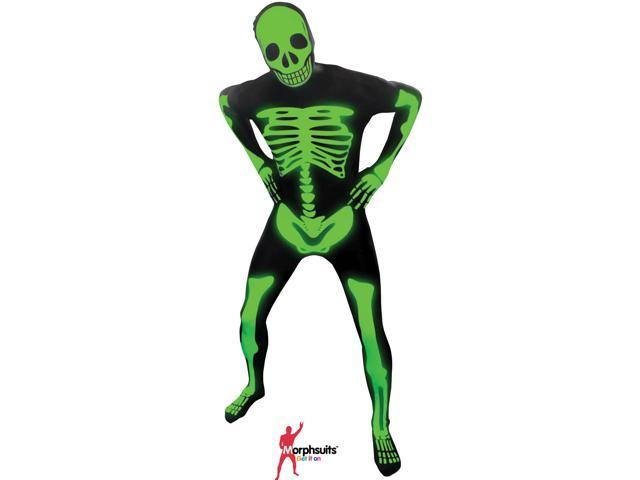 Original Morphsuits Black Glow Skeleton Adult Suit Character Morphsuit, Large