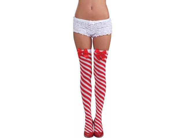 Candy Cane Stockings Costume Hosiery Accessory Size Standard
