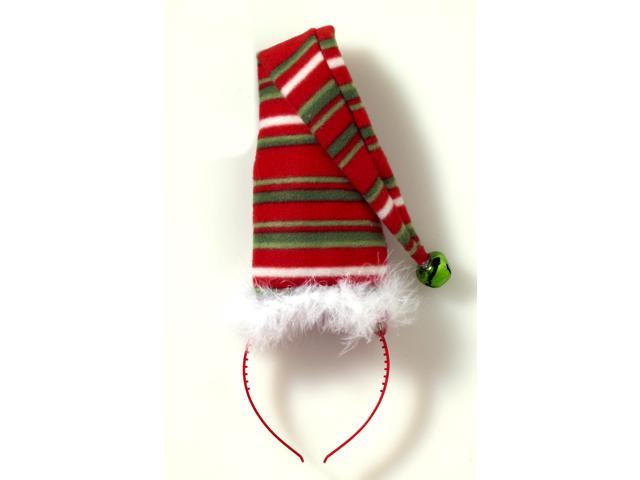 Striped Green White & Red Long Christmas Hat Costume Headband One Size