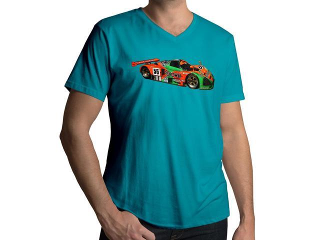 Men's Mazda 787B Le Man Race Car Sketch 100% Cotton V-Neck T-Shirt