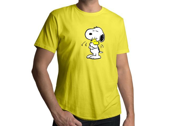 Men's Peanuts Snoopy Hugging Woodstock Friendship Love 100% Cotton Crew Neck T-Shirt
