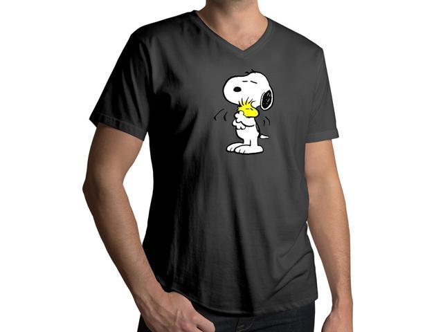 Men's Peanuts Snoopy Hugging Woodstock Friendship Love 100% Cotton V-Neck T-Shirt