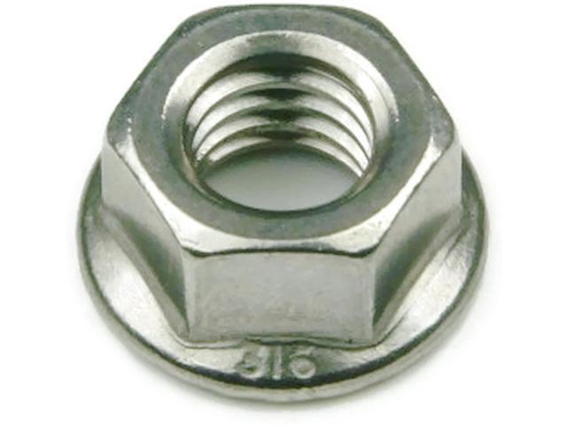 316 Stainless Steel Hex Serrated Flange Lock Nut UNF #10-32, Qty 100