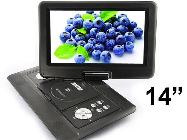 New 14 inch Shockproof Portable DVD VCD CD MP3 MP4 Player + Analog TV (1589)_Black