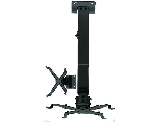 Black Universal Projector Ceiling Mount Hanger with Adjustable Extension and Telescoping Height