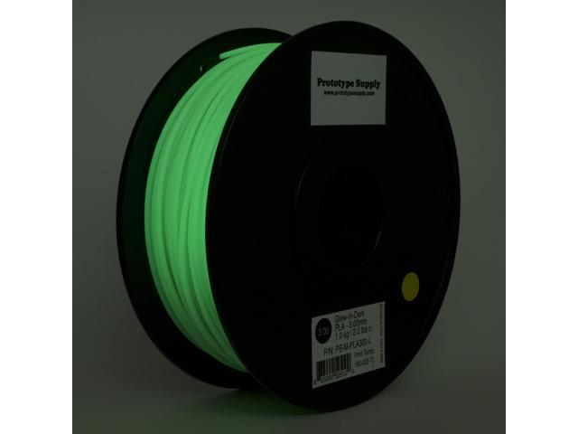Prototype Supply PLA 3D Printing Filament 3mm Glow in the Dark 1kg/roll (2.2 pounds)