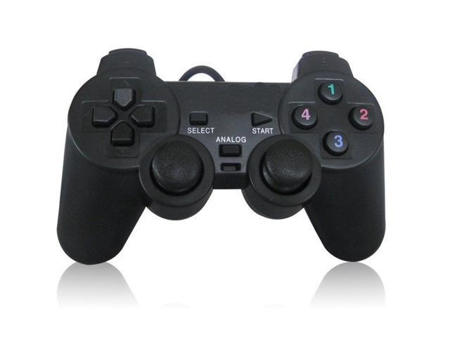 Black USB Dual Vibration PC Computer Wired Gamepad Game Controller Joystick New