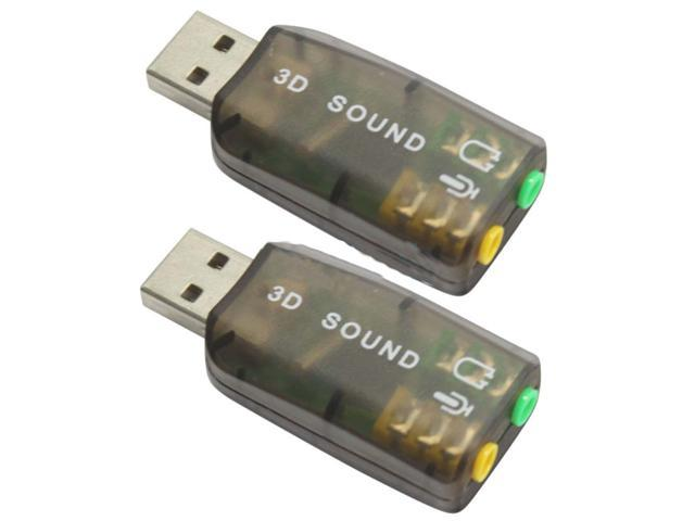 New 2 X USB Sound Adapter Card External Audio 3D Virtual 3.5mm Jack Plug & Play