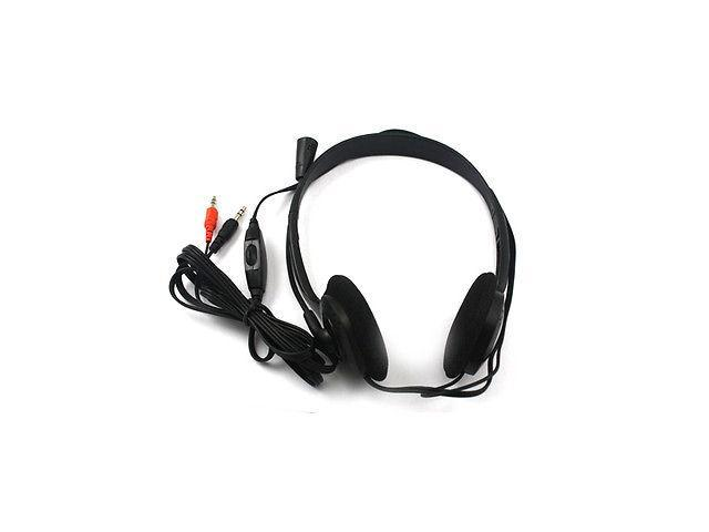 Microphone Headphone Headset MSN Skype Talk Black For Laptop/Notebook PC