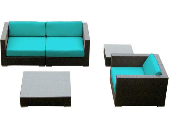 Luxxella Crestalla 5 Pcs Turquoise Outdoor Wicker Patio Furniture set Neweg