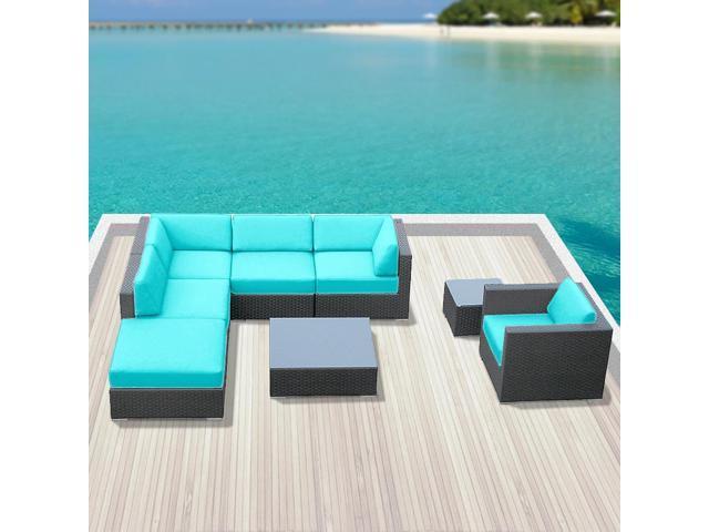 Luxxella Beruni 8 Pcs Turquoise Outdoor Wicker Patio
