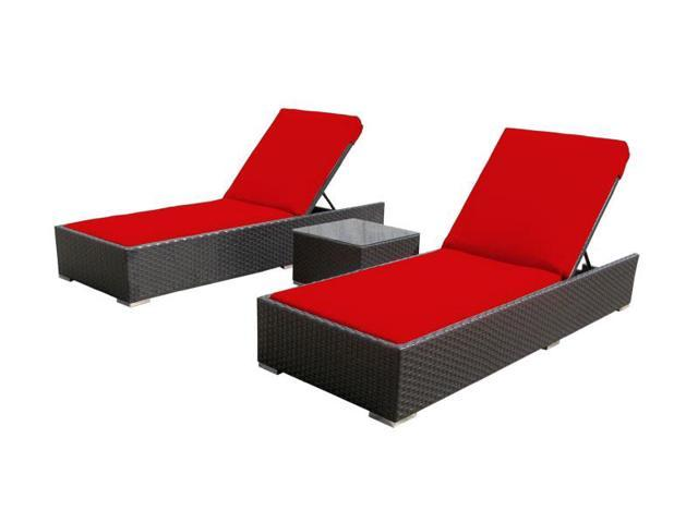 Luxxella 3 Pcs Lounger Red Outdoor Patio Furniture Newegg