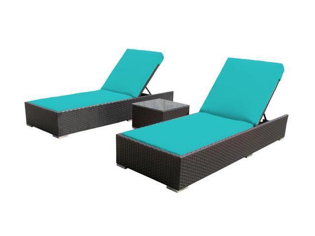 Luxxella 3 Pcs Lounger Turquoise Outdoor Patio Furniture
