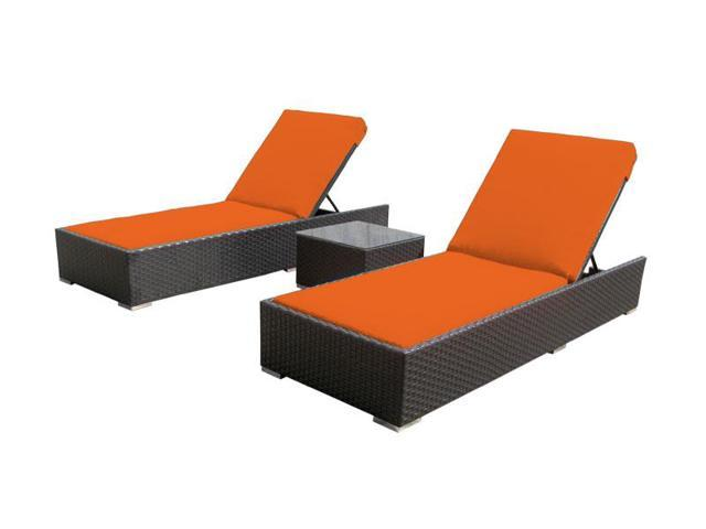 Luxxella 3 Pcs Lounger Orange Outdoor Patio Furniture Newegg