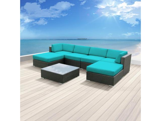 Luxxella Mallina 7 pcs Turquoise Outdoor Patio Furniture set Newegg