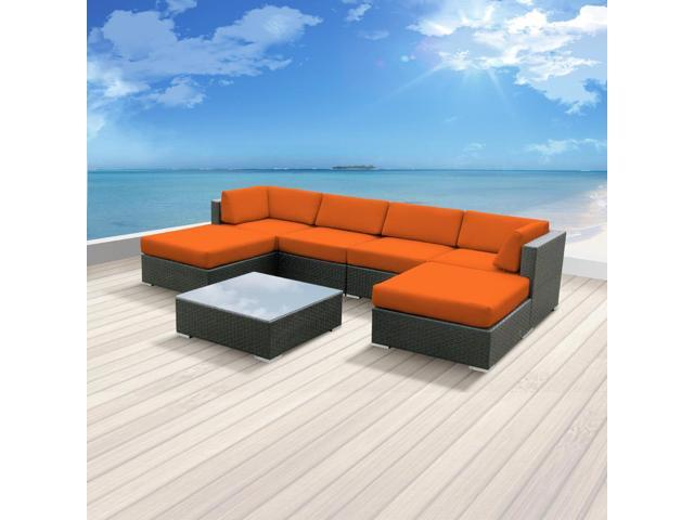 Luxxella Mallina 7 pcs Orange Outdoor Patio Furniture set Newegg