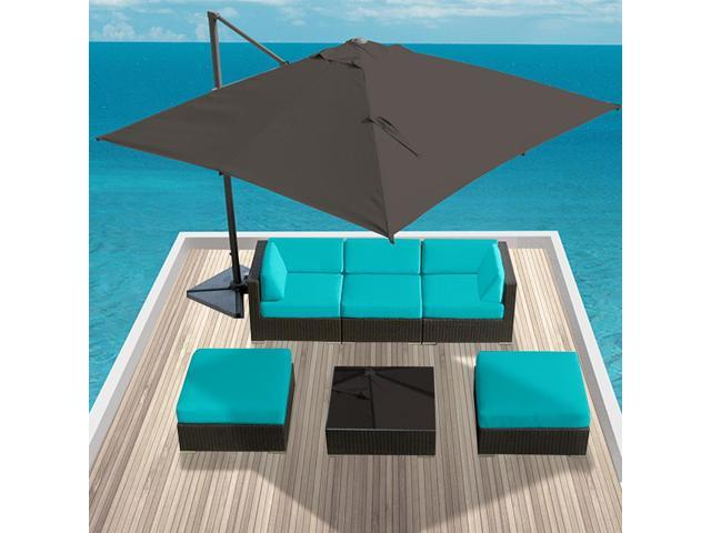 Luxxella Mallina 6 Pcs Turquoise Outdoor Wicker Patio Furniture set Newegg
