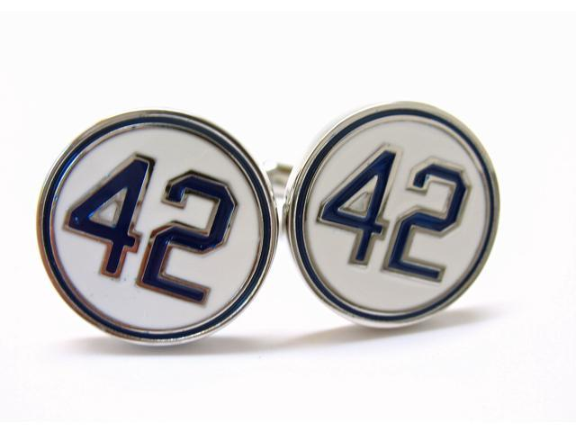 42 White Blue Number Forty Two Honoring Baseball's Barrier Barker Cufflinks Cuff Links