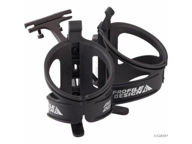 Profile Design Aqua Rack  Dual Water Bottle Cage Black Rail Mount Triathlon