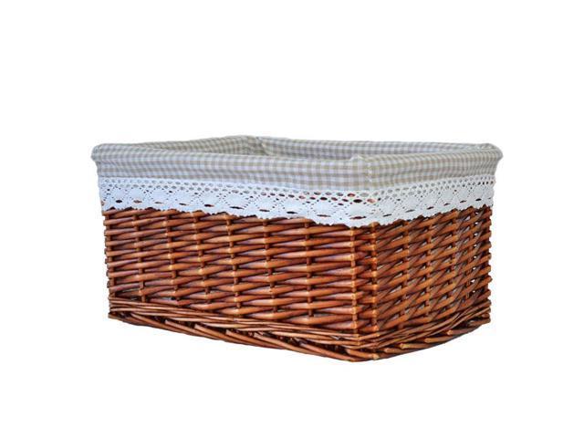 Rectangular brown wicker storage basket with liner - Wicker hamper with liner ...