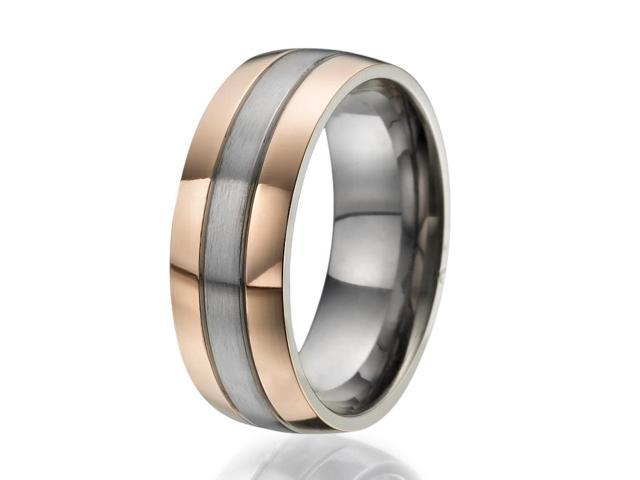 8mm Titanium Ring with 2 wide stripes plated with rose gold on the sides