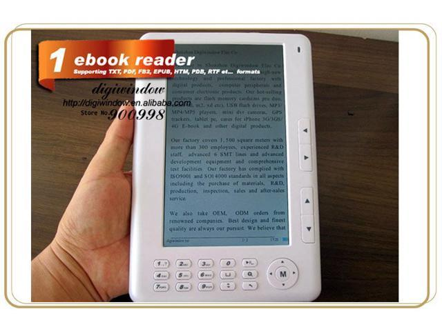 E-book Reader 7 inch 720P TFT Screen Plastic material with 4GB Built-in + Micro SD/TF Card Extension Multi-function ebook reader MP3 Phote Video White color