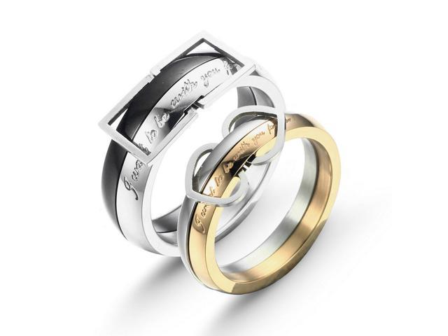 "Merdia eQuteCOO18C2S69 Fashionable Stainless Steel""I wanna to be with you forever"" Couple Rings - Black + Golden + Silver ..."