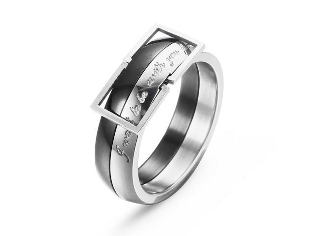 Merdia Stainless Steel Belt Style Ring for Men and Women