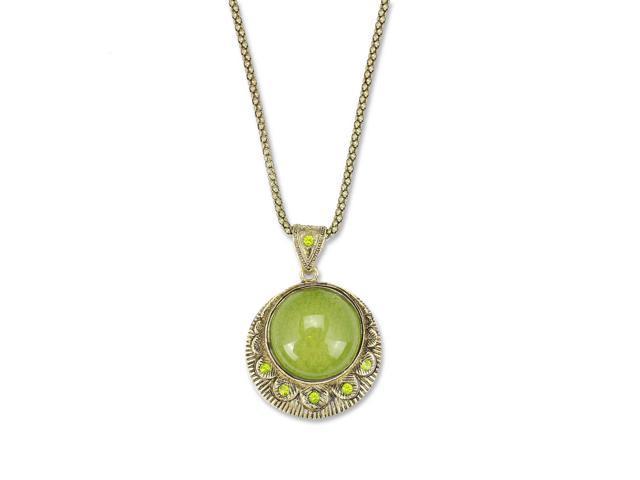 Merdia PPEW13C8 Vintage Green Gemstone Round Pendant Sweater Chain Necklace