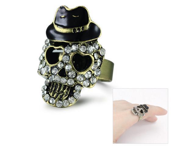 Merdia RPEW11C99 Vintage White Rhinestones Skull w/ Hat Bronze Adjustable Ring
