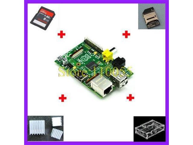 7 IN 1 512 ARM Raspberry Pi Project Board Model B + 3 heat sinks + 1 board case