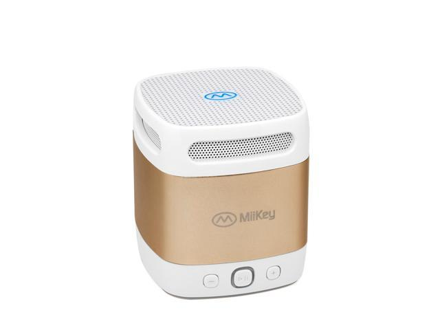 MiiBox Mini Bluetooth NFC Speaker with Microphone, Built-in Music Player & HD Audio - Gold