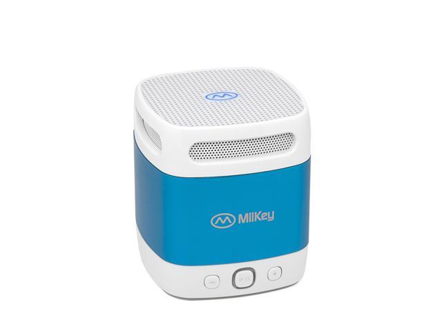 MiiBox Mini Bluetooth NFC Speaker with Microphone, Built-in Music Player & HD Audio - Blue/White