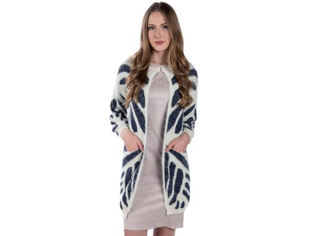 Aerusi Woman's 'Tundra Tiger Stripe' Knit Warm Cardigan [Medium Large] – (White/Navy Blue)