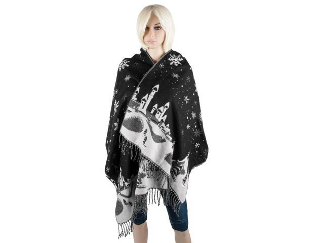 Aerusi Woman's Reversible Snow Village Blanket Cashmere Scarf Wrap Oversized Shawl with Fringes (Black Snowflake)