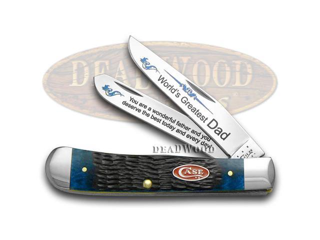 CASE XX Jigged Blue Bone World's Greatest Dad 1/600 Trapper Pocket Knife Knives