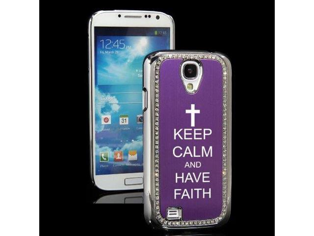 Purple Samsung Galaxy S4 S IV i9500 Rhinestone Crystal Bling Hard Back Case Cover KS269 Keep Calm and Have Faith Cross
