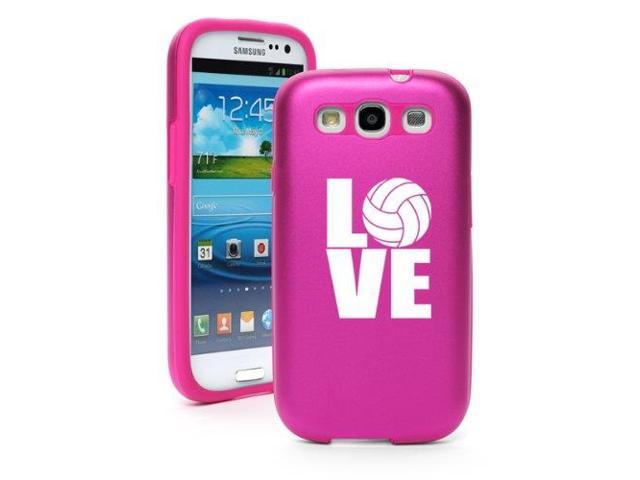 Hot Pink Samsung Galaxy S III S3 Aluminum & Silicone Hard Case SK355 Love Volleyball