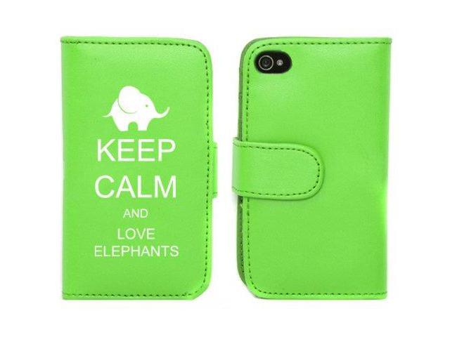 Green Apple iPhone 4 4S 4G LP462 Leather Wallet Case Cover Keep Calm and Love Elephants